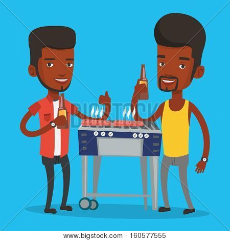 Friends preparing barbecue and drinking beer. Group of friends having fun at a barbecue party. Smiling african-american friends having a barbecue party. Vector flat design illustration. Square layout.