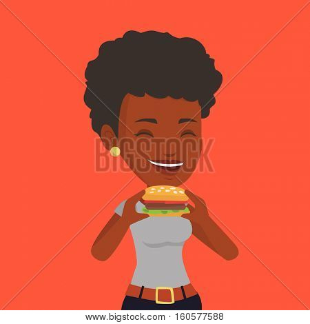 African-american joyful woman eating hamburger. Happy woman with eyes closed biting hamburger. Young smiling woman is about to eat delicious hamburger. Vector flat design illustration. Square layout.