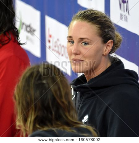 Hong Kong China - Oct 29 2016. Jeanette OTTESEN (DEN) and SEEBOHM Emily (AUS) at the Victory Ceremony of the Women'sFreestyle 50m. FINA Swimming World Cup.