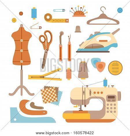 Vector colorful sewing machine illustration. Flat sewing machine infographic design elements scissor, pin, iron. Tailoring industry concept of dressmaking tools icons. Sewing workshop illustration.