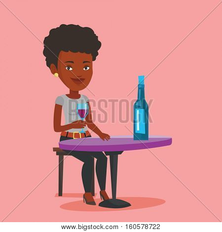 Young woman sitting at the table with glass and bottle of wine. African-american woman drinking wine at restaurant. Woman enjoying a drink at wine bar. Vector flat design illustration. Square layout.