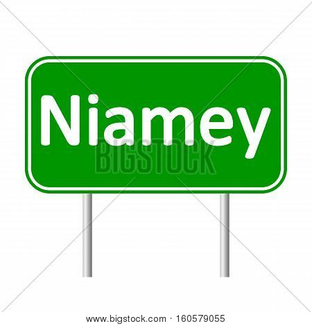 Niamey road sign isolated on white background.