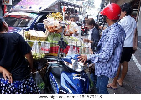 Street Food Stall On Road Side In Pattaya, Thailand