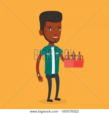 Young happy man holding pack of beer. Full length of cheerful man carrying a six pack of beer. An african-american smiling man buying beer. Vector flat design illustration. Square layout.