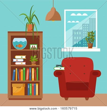 Vector colorful office desk with indoor plants. Work interior design elements computer, indoor plants. Office desk closeup with indoor plants. Flat style workplace with potted flower illustration.