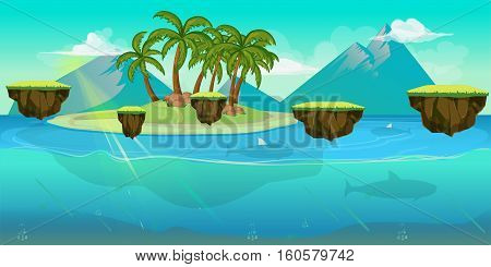 Background for games apps or mobile development. Cartoon nature landscape with sea or ocean and palms. Vector illustration for design graphics print or book . Stock illustration.