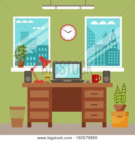 Vector colorful office desk with indoor plants. Work interior design elements laptop, indoor plants. Office desk closeup with indoor plants. Flat style workplace with potted flower illustration.