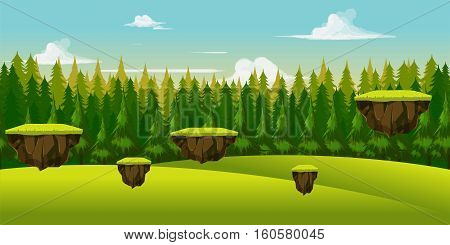Forest and hill game background .nature landscape with different platforms and separated layers for games.