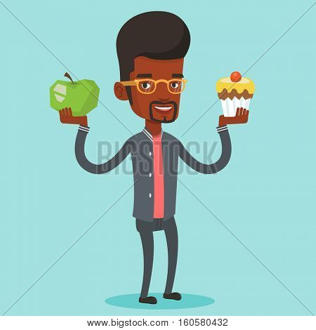 An african man holding apple and cupcake in hands. Man choosing between apple and cupcake. Concept of choice between healthy and unhealthy nutrition. Vector flat design illustration. Square layout