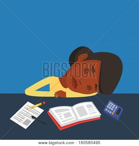 Fatigued african-american student sleeping at the desk with books. Tired student sleeping after learning. Young woman sleeping among books at the table. Vector flat design illustration. Square layout.