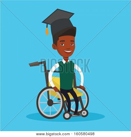Cheerful graduate sitting in wheelchair. An african-american student sitting in wheelchair. Disabled graduate in graduation cap sitting in wheelchair. Vector flat design illustration. Square layout.
