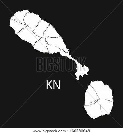 Saint Kitts and Nevis with parishes Map black illustration country silhouette concept