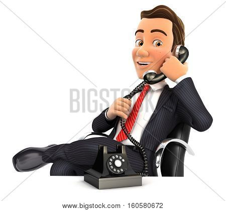 3d businessman making a phone call illustration with isolated white background