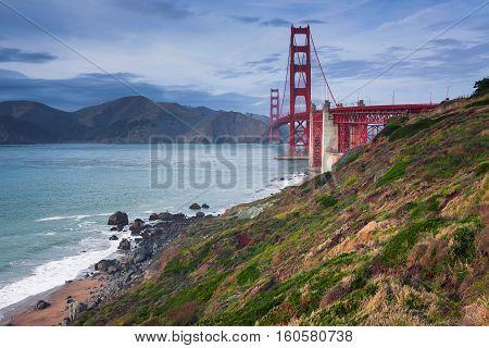 Golden Gate Bridge. Image of Golden Gate Bridge in San Francisco, California at sunset.