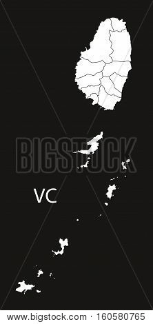Saint Vincent and the Grenadines regions Map black illustration country silhouette concept