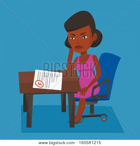 Sad student looking at test paper with bad mark. An african-american student disappointed test with F grade. Student dissatisfied with the test results. Vector flat design illustration. Square layout.
