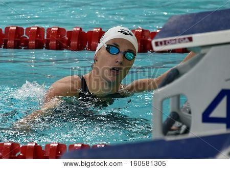 Hong Kong China - Oct 29 2016. Olympic world and European champion World record holder swimmer Katinka HOSSZU (HUN) after the Women's Backstroke 200m Final. FINA Swimming World Cup.