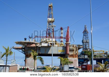 SANTA CRUZ DE TENERIFE, SPAIN - APRIL 17, 2016: Gas and oil rig platform in the port of Santa Cruz de Tenerife in Tenerife, Canary Islands, Spain.