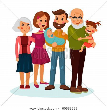 Happy family logo with father and mother, daughter and grandmother, infant or baby, grandfather, husband and wife. For family couple or happy parenting, adult sister and brother logo, family holiday