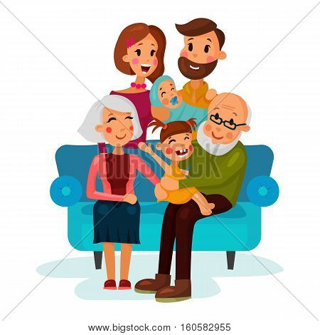 Family with children sitting on couch. Father holding baby or infant and mother, grandmother and grandfather, brother and sister family shot on sofa. For happy family illustration or logo, cartoon characters