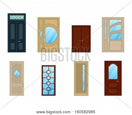 Set of doors with glass or windows design. Interior wooden or wood door architecture, exit frame or isolated closed doorway. For building or room theme, house door front view or entrance icon