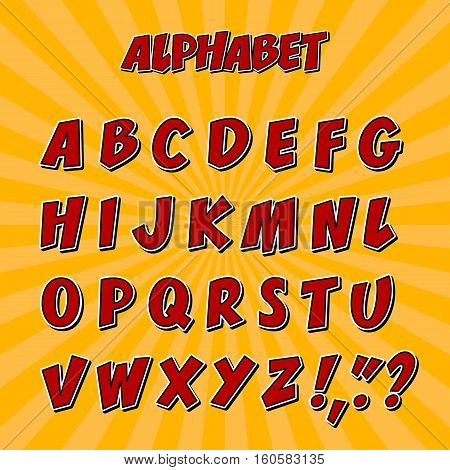 Kids alphabet or 3d font with letters. Typeset or calligraphic letters, typographic characters or set of text letters for english alphabet, uppercase alphabet font or type. Typography abc theme