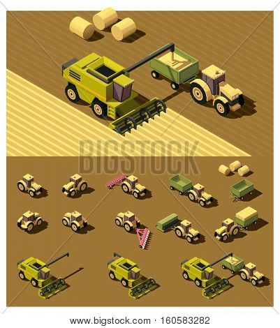 Vector isometric low poly tractor and combine harvester working in field