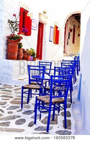 Traditional Greece - small tavernas in Cyclades style. Amorgos island
