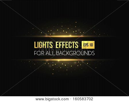 Horizon halo light through lens light effect. Horizontal lens glowing with sunbeam. Can be used as sunlight or sunrise, sunset light effect background or flyer backdrop, invitation or celebration poster