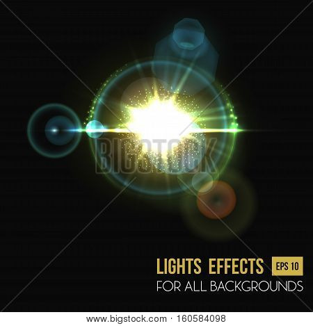 Hexagon and round lens sun light effect. Star glow backdrop or sunny beam background, bokeh effect and illuminated flare of solar light, abstract flash background, sunshine light effect backdrop