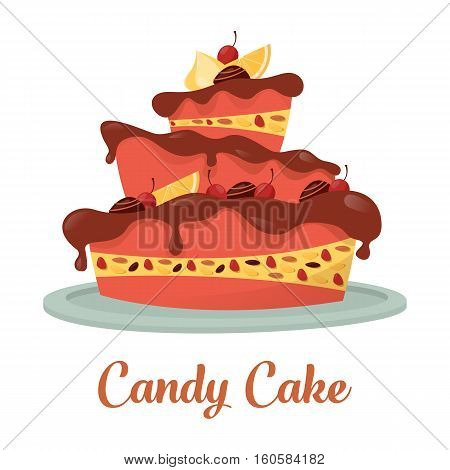 Chocolate cake with cream and lemon logo. Cherry and candy on top of standing confectionery cake banner. For pastry and bakery shop or store, cook or cake gift, wedding or birthday celebration