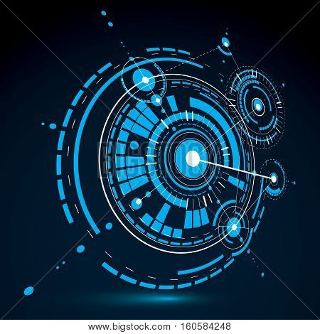 3d engineering technology vector backdrop. Futuristic technical plan in blue color mechanism. Mechanical scheme dimensional abstract industrial design can be used as website background.