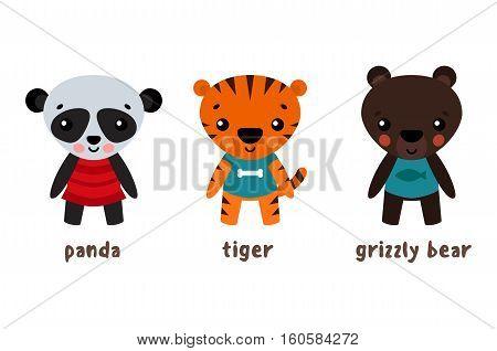 Panda or koala, grizzly bear and tiger cartoon animals. Wildlife set of smiling characters, panda in skirt and cartoon bear in clothes, tiger character with stripes. For cartoon characters set