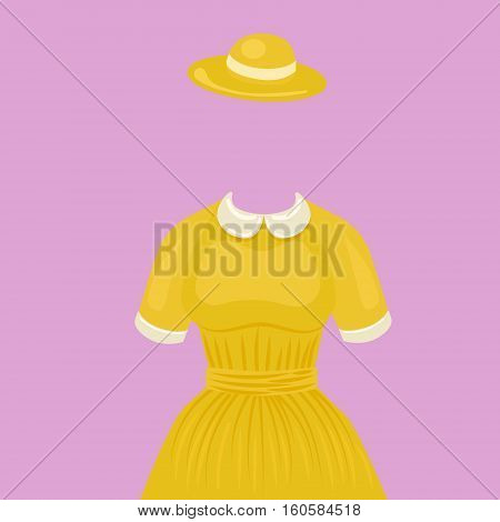 Woman dress with hat temlate without head. Design element for making collage. Colorful hand drawn cartoon vector illustration.