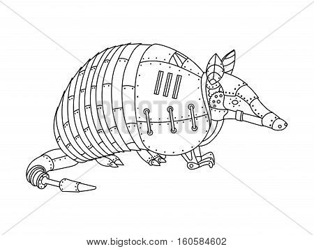 Steampunk style armadillo. Mechanical animal. Coloring book for adult vector illustration.
