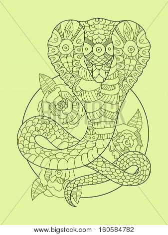 Cobra snake color drawing vector illustration. Tattoo stencil. Lace pattern