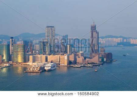 Skyscrapers on coast in business area at morning in Hong Kong, China, view from China Merchants Tower