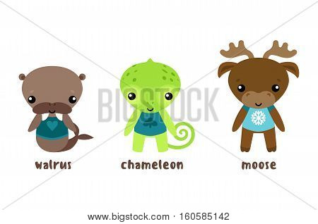 Animal moose and cartoon chameleon, walrus or morse. Sea cow and isolated elk, reindeer cartoon character. Isolated cartoon funny and smiling animal characters in cloth vector illustration
