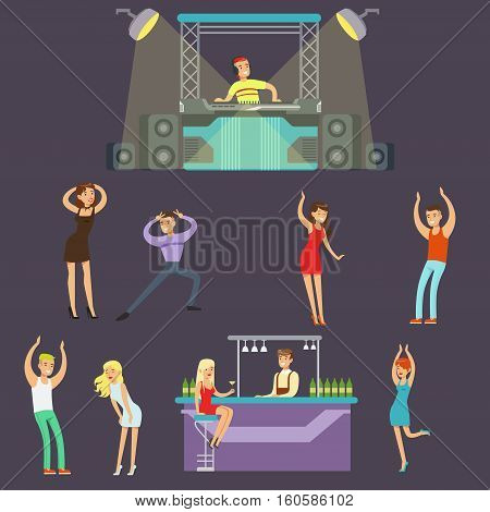 Young Happy People Dancing In Night Club And Drinking In The Bar With DJ Playing Music Cartoon Vector Illustration. Men And Women Having Good Time At The Party On A Dancefloor Drawing
