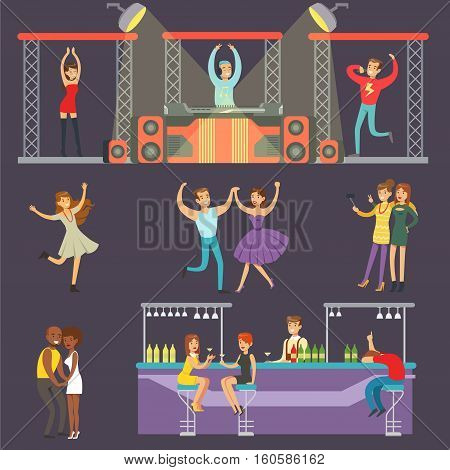 Young Smiling People Dancing In Night Club And Drinking In The Bar With DJ Playing Music Cartoon Vector Illustration. Men And Women Having Good Time At The Party On A Dancefloor Drawing
