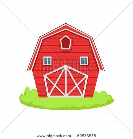 Red Wooden Barn Cartoon Farm Related Element On Patch Of Green Grass. Colorful Vector Illustration With Farming And Rancho Associated Isolated Object.