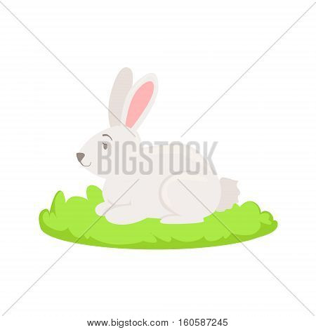 Rabbit Farm Animal Cartoon Farm Related Element On Patch Of Green Grass. Colorful Vector Illustration With Farming And Rancho Associated Isolated Object.