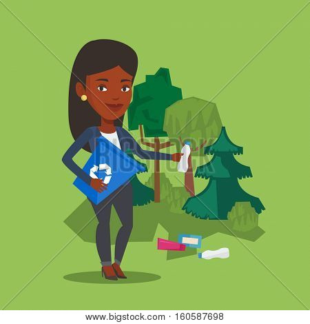Woman with recycling bin in hand picking up used plastic bottles. An african-american woman collecting garbage in recycle bin. Waste recycling concept. Vector flat design illustration. Square layout.