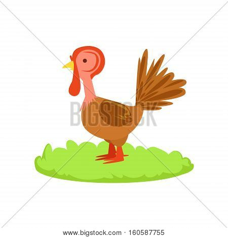 Turley Farm Bird Cartoon Farm Related Element On Patch Of Green Grass. Colorful Vector Illustration With Farming And Rancho Associated Isolated Object.