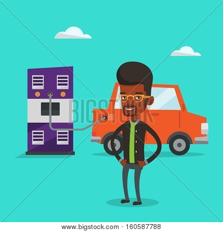 An african-american man charging electric car at charging station. Charging of electric car. Vector flat design illustration. Square layout.