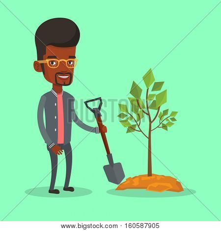 An african-american man plants a tree. Cheerful man standing with shovel near newly planted tree. Young man gardening. Environmental protection concept. Vector flat design illustration. Square layout.