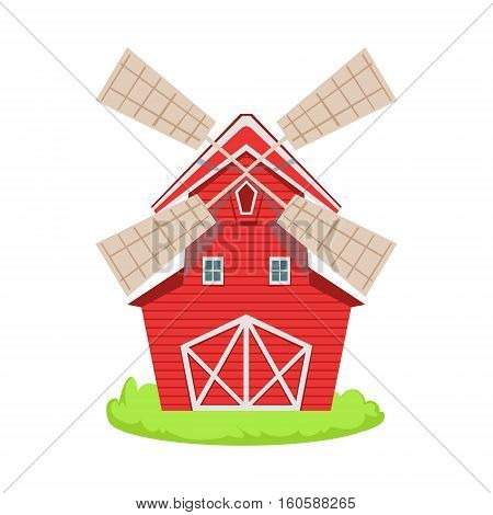 Red Wooden Windmill Cartoon Farm Related Element On Patch Of Green Grass. Colorful Vector Illustration With Farming And Rancho Associated Isolated Object.