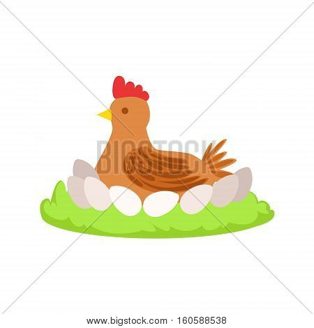 Chicken On Nest Cartoon Farm Related Element On Patch Of Green Grass. Colorful Vector Illustration With Farming And Rancho Associated Isolated Object.