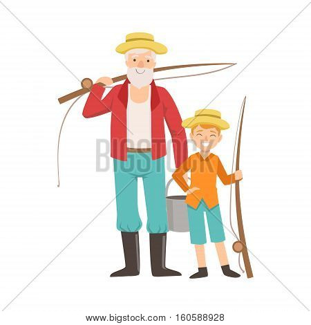 Grandfather And Grandson Going Fishing , Part Of Grandparent And Grandchild Passing Time Together Set Of Illustrations. Good Relationship Between Generations Of Family Cartoon Vector Drawing.
