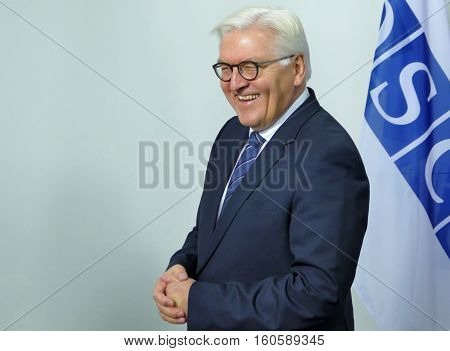 Hamburg Germany. December 8th 2016: Minister Dr Frank-Walter Steinmeier at the 23rd OSCE Ministerial Council in Hamburg